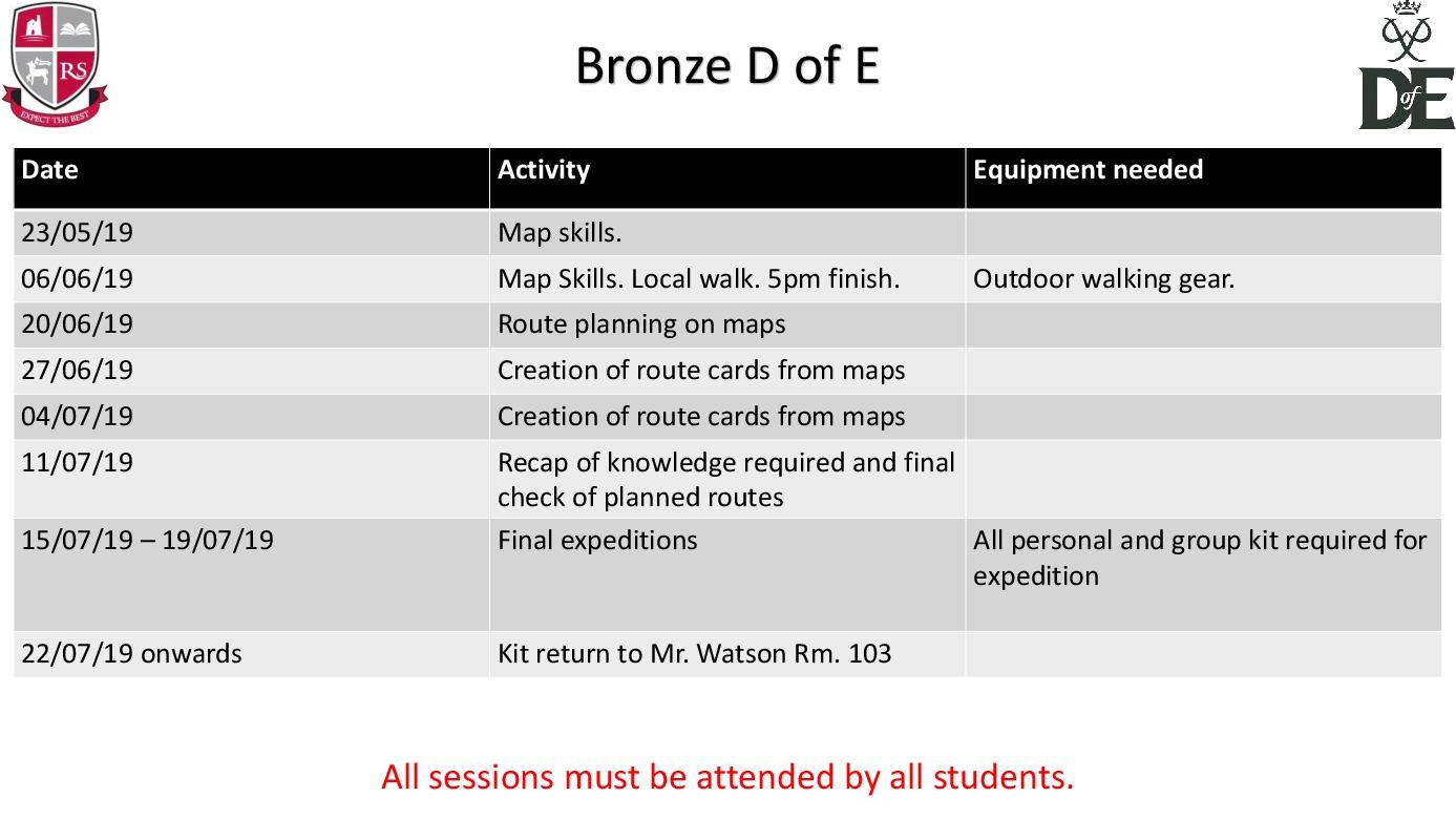 D of E Summer Schedule Bronze