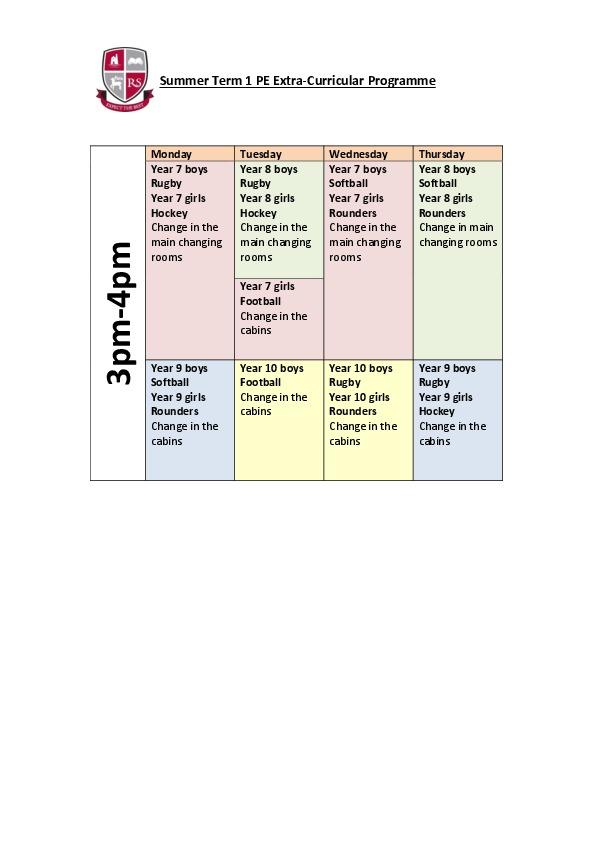Summer Term 1 PE Clubs