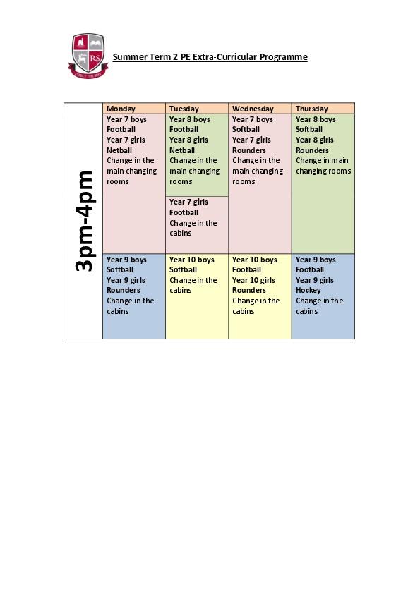 Summer Term 2 PE Clubs